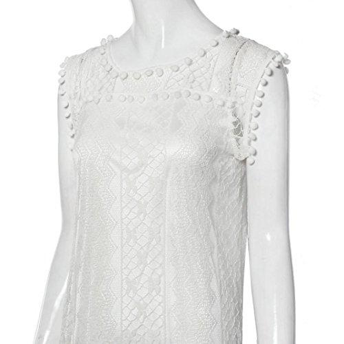 WEUIE Women Casual Tank T Shirt Dress Lace Sleeveless Beach Short Dress Beachwear Tassel Mini Dress White by WEUIE (Image #3)