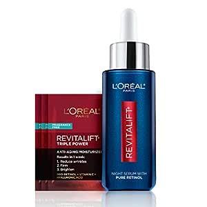 Retinol Serum for Face, L'Oreal Paris Revitalift Derm Intensives Night Serum, 0.3% Pure Retinol, Visibly Reduce Wrinkles, Even Deep Ones, 1 fl oz Serum + 3 Triple Power Moisturizer Single-Use Samples