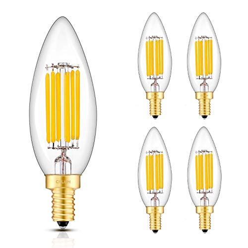 CRLight 6W 3000K LED Candelabra Bulb Soft White 700LM Dimmable, 70W Equivalent E12 Base LED Candle Bulbs, B10 Clear Glass Torpedo Shape, 4 Pack