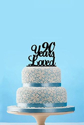 90 Years Loved Cake TopperClassy 90th Birthday TopperHappy TopperElegant Ninetieth Topper90 Anniversary Topper Amazoncouk
