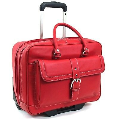 Heritage Lake View Leather Wheeled Business Case Briefcase, Red, One Size
