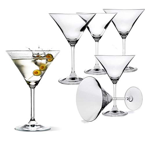 Classic Martini Glasses -Set of 6 (10 Ounce) - Perfect Cocktail Glasses with Stem