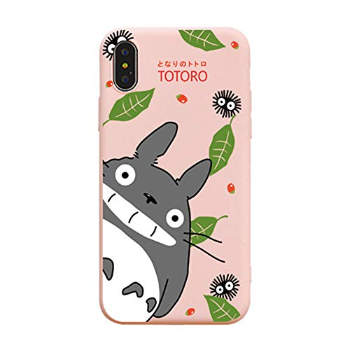for iPhone Xs Max Case, for iPhone Xs Max Cover, Cute Cartoon Anime My Neighbor Totoro Full-Print Soft Case Cover for iPhone Xs Max XR 6S 7 8 Plus (Pink, for iPhone 6/6s)