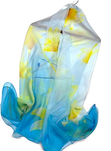 Shanlin Super Large Silk Feel Floral Scarves for Women (Tulips-Yellow-Blue)