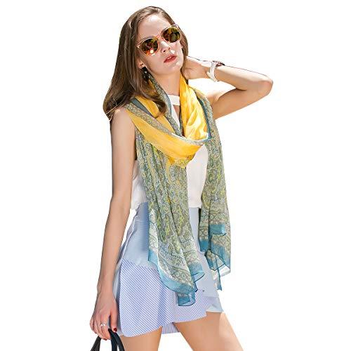 (DANA XU Pure Silk Large Size Pashmina Shawls and Wraps Scarfs for Women (Yellow&Blue) )