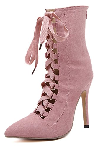 DiJiGilrs Womens Basic Pointed toe Bandage High Heel Stiletto Pumps Lace Up Gladiator Hollow Outs Nude Platform Sandal Boots Pink ZkM6l