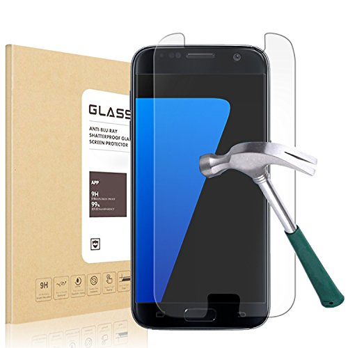 Filmmy Galaxy S7 0.25mm HD Anti-scratches Clear Ballistic Tempered Glass Screen Protector for Samsung Galaxy S7, 2 Pack