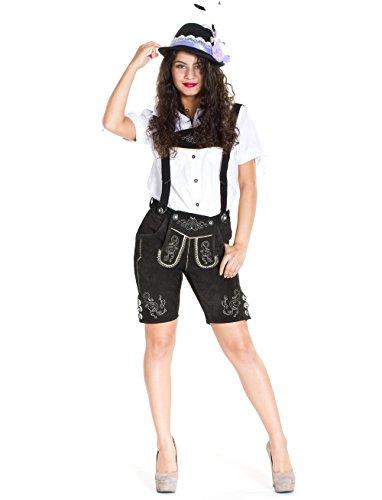 Damen Trachten Lederhose Vicky schwarz aus 100% Echtleder