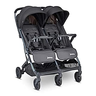 Joovy Kooper X2 Double Stroller, Lightweight Stroller, Compact Fold with Tray, Forged Iron