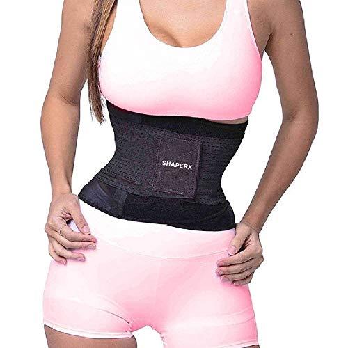 (SHAPERX Women's Waist Trainer Belt Waist Training Corset Cincher Slimming Body Shaper for an Hourglass Weight Loss Workout Gym Fitness Trimmer Slimmer Shaper, SZ8001-Black-S)