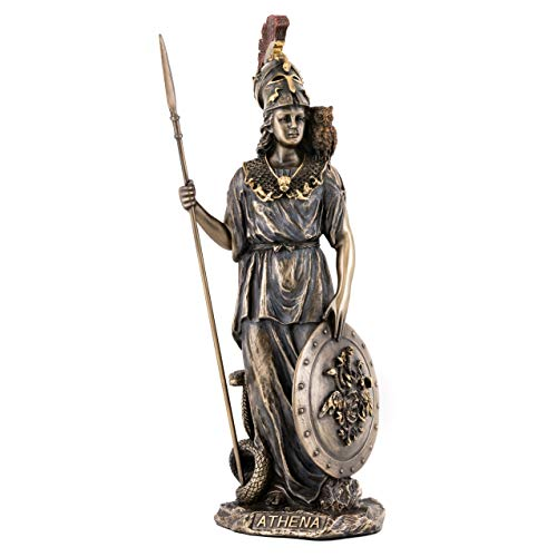 Top Collection Greek Goddess Athena Statue- Goddess of Wisdom, War, & the Arts Sculpture in Premium Cold Cast Bronze- 11-Inch Collectible Daughter of Zeus Figurine