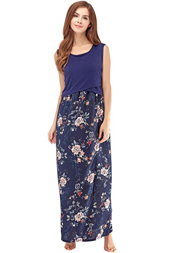 Bearsland Women's Maternity Summer Contrast Sleeveless Nursing Tank Top Floral...