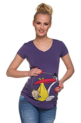 T shirt premaman Cicogna viola Abbigliamento Premaman MY TUMMY ®©™
