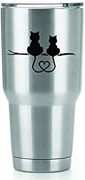 Cats on a Branch Heart Tails Vinyl Decals Stickers (2 Pack!!!)  | Yeti Tumbler Cup Ozark Trail RTIC Orca | Decals Only! Cup not Included! | 2 - 4 X ...