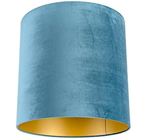 QAZQA Algodón Pantalla terciopelo azul 40/40/40 interior dorado, Redonda/ Cilíndrica Pantalla lámpara colgante,Pantalla lámpara de pie: Amazon.es: Iluminación