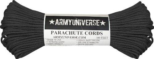 Nylon 100' Cord - Black 550LB Military 100% Nylon Parachute Cord 100 Feet