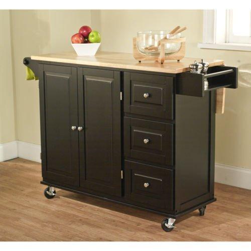 Kitchen Cart, Storage Shelves, Wood, Butcher's Block, Black