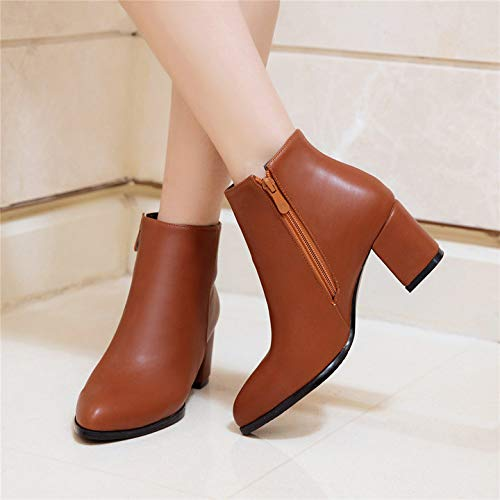 7c06efda6dee0 Amazon.com: DingXiong Women's Zipper Boots Pu Leather Thick Heel ...