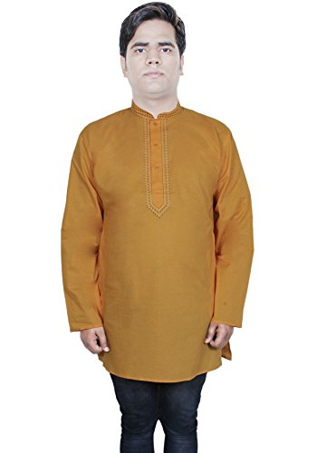 mens-cotton-kurta-long-sleeve-button-stand-collar-solid-casual-tshirt-l-chest-42-inches-darkbrown