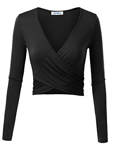 VEAWLL Womens Top Long Sleeve Slim Fit Shirts Black Crop Top V Neck Shirts L (Tank V-neck Top Long Sleeve)
