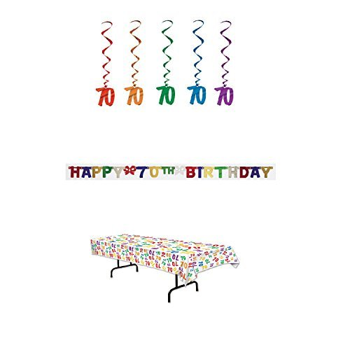 70th Birthday Party Decoration Kit: Bundle Includes Banner, Table Cover, and Whirls]()
