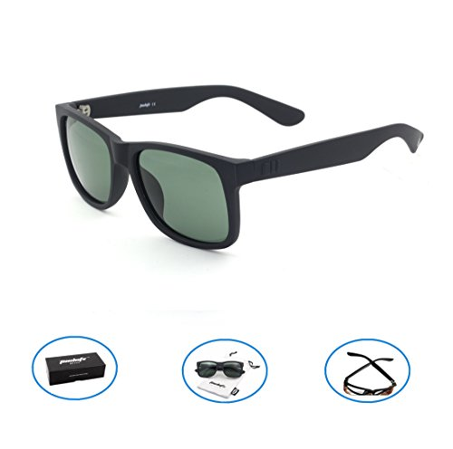 Tacloft Polarized Sunglasses 54mm Classic Wayfarer Eyewear Shade tl6001 (Black frame/G15 Lens) (Wayfarer 54mm Sunglasses)