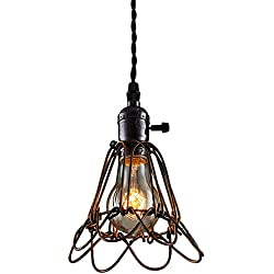 Metal Ceiling Pendant Light Fixture, Hebolen Vintage Industrial Style Mini Edison Hanging Chandelier Lamp Cage for Kitchen Island Dining Room Table Bedroom Hallway with On/Off Switch …