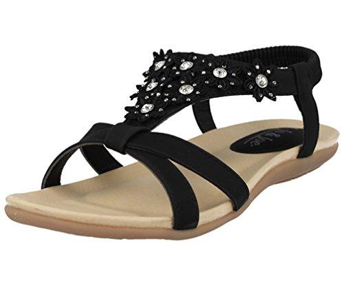 Jo & Joe Ladies Faux Leather Peep Toe Sling Back T-Bar Flower Fashion Flat Diamante Flip Flop Sandals Size 3-8 Black Oc92AXwdgs