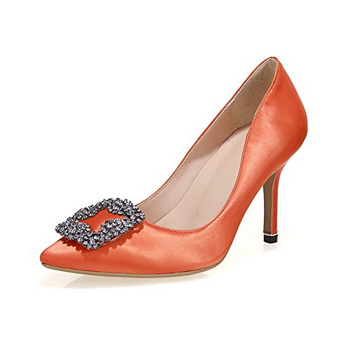 Amoonyfashion Da Donna Con Tacco Alto A Punta Chiusa Tacco Alto Scarpe-scarpe Arancio9cm