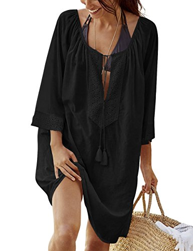 Bess Bridal Women's Oversized Swimsuit Cover up Solid Bikini Swimwear Beach Dress (Black)