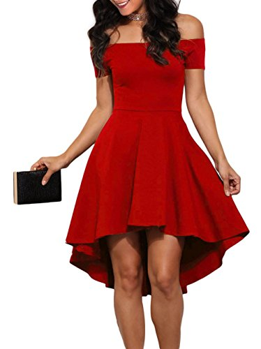 LOSRLY Womens Off Shoulder Semi Formal Short Evening Dress A Line Plus Size Red XL 14 16 by LOSRLY