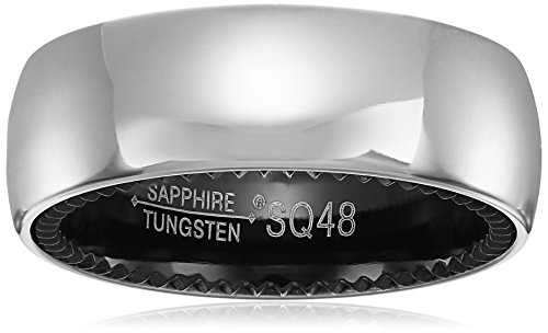 Sapphire Tungsten and Titanium 8mm Black Interior Classic Satin Finish Comfort Fit Wedding Bands Rings for Men, Size 10