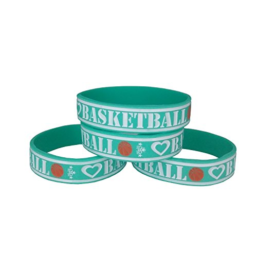 4-Pack Basketball Silicone Rubber Wristbands in Teal and White Colors - 160mm (Custom Basketball Bags)