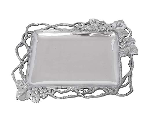 "Arthur Court Designs Aluminum Grape Open Vine Rectangle 19"" x 14.5"" Tray"
