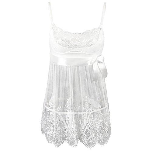 acc85eb0e EVAbaby Sexy Lingerie for Women White Lace Chemise Dress Bridal Sleepwear  Set Sheer Babydoll
