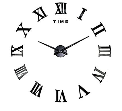 Pegatina reloj de pared cuarzo numeros romanos