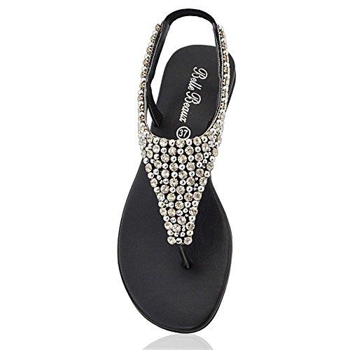 Infradito Finto Cinturino Nero Posteriore GLAM Sandalo Perlato Diamante Donna ESSEX fwtpUAqq