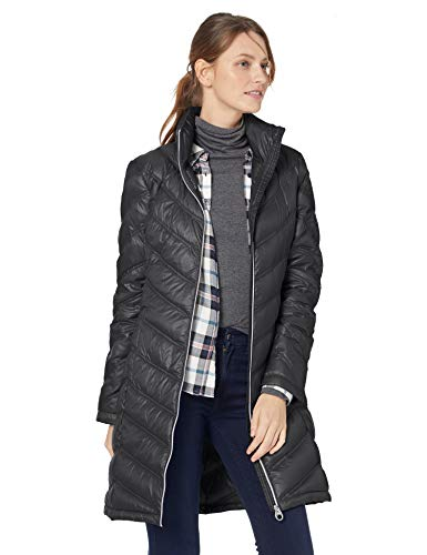 Calvin Klein Women's Chevron Packable Down Coat, Black, X-Small (Zip Quilted Coat Full)