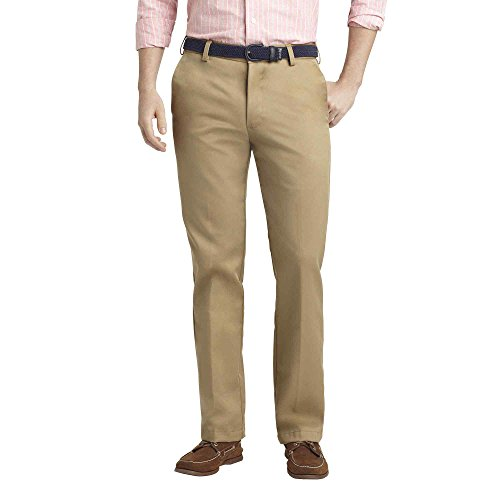 Heritage Mens Pants (IZOD Men's Heritage Chino Straight Fit Flat Front Pant 30 x 32 Khaki)