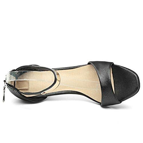 TAOFFEN Mujer Peep Toe Sandalias Moda Tacon De Aguja Tacon Alto Al Tobillo Cremallera Zapatos Negro