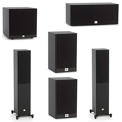 JBL 5.1 System with 2 JBL Stage A170 Floorstanding Speakers, 1 JBL Stage A125C Center Speaker, 2 JBL Stage A120 Bookshelf Speakers, 1 JBL Stage A120P Subwoofer