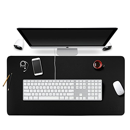 BUBM Large Multifunctional Leather Desk Mat Pad Blotter Protector 35.5''x 15.8'' Waterproof Dual Use Desk Writing Mat for Office Home, Easy Clean by BUBM