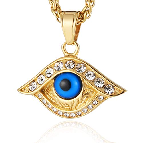HZMAN 18k Gold Plated Iced Out Eye of Horus Egypt Protection Cross Dog Tag Pendant Stainless Steel Necklace (Eye) ()