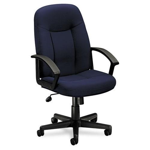 Basyx VL601VA90 VL601 Series Executive High-Back Swivel/Tilt Chair, Navy Fabric/Black Frame