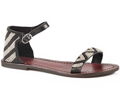 Ankle Black Ladies Black Leather Beaded Roper Chevron Sandals Shoes Strap TFwxPO