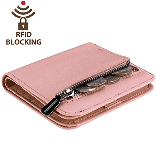 Bifold Rfid Small Compact Blocking Mini Pocket Ladies Light Leather Itslife Id With Pink Natural Women's Purse Wallet Window nXq5g1xwBt