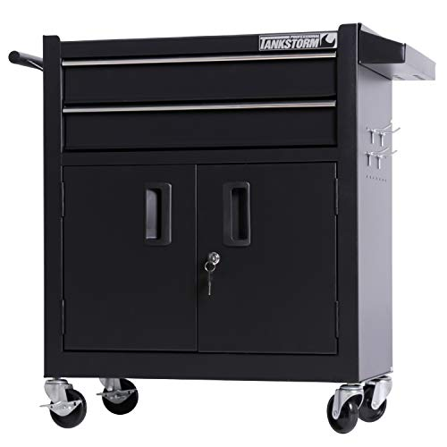 TANKSTORM Tool Chest Heavy Duty Cart Steel Rolling Tool Box with Lockable Doors (TZ12 Black)