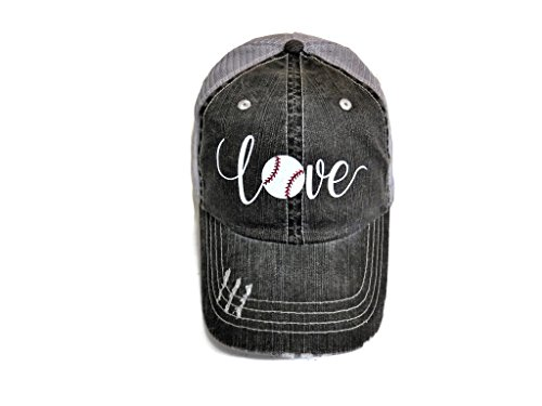 White Glitter Baseball Love Distressed Look Grey Trucker Cap Hat Sports by Spirit Caps (Image #3)
