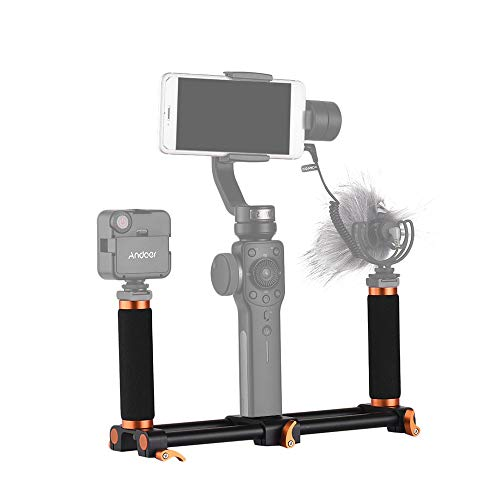 Andoer Dual Handheld Grip Bracket Kit Gimbal 1/4 inch Screw Mounts Extended Handle for Zhiyun Feiyu Stabilizer