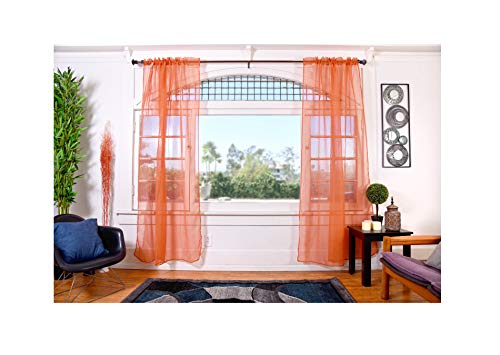 Orange Sheer - All American Collection Doli Sheer Curtains | Two 54
